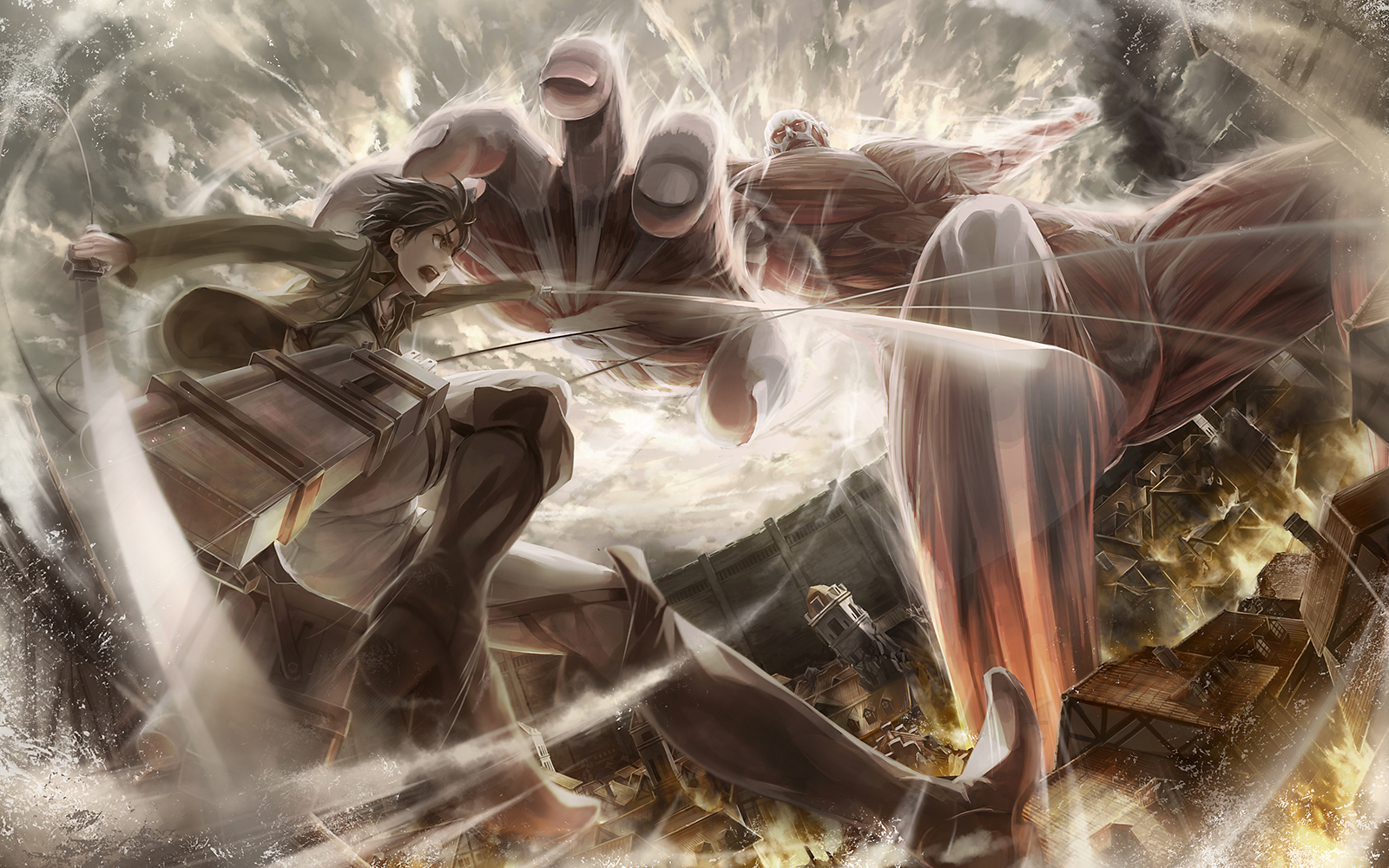 Download Wallpaper From Anime Attack On Titan With Tags Linux Eren Yeager Shingeki No Kyojin Colossal Titan