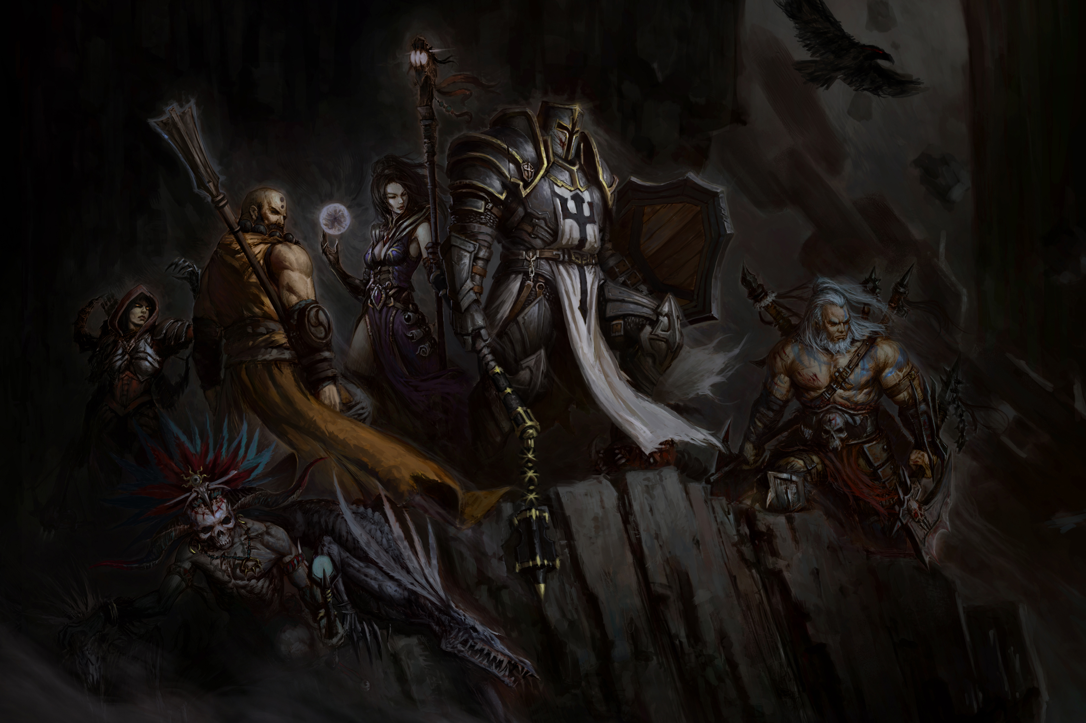 Download Wallpaper From Game Diablo III Reaper Of Souls With Tags Barbarian Witch Doctor Demon Hunter Wizard Monk Crusader Screen