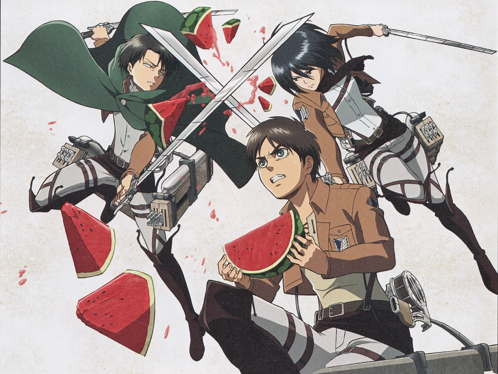 Download Wallpaper From Anime Attack On Titan With Tags Eren Yeager Mikasa Ackerman Screen Levi Ackerman