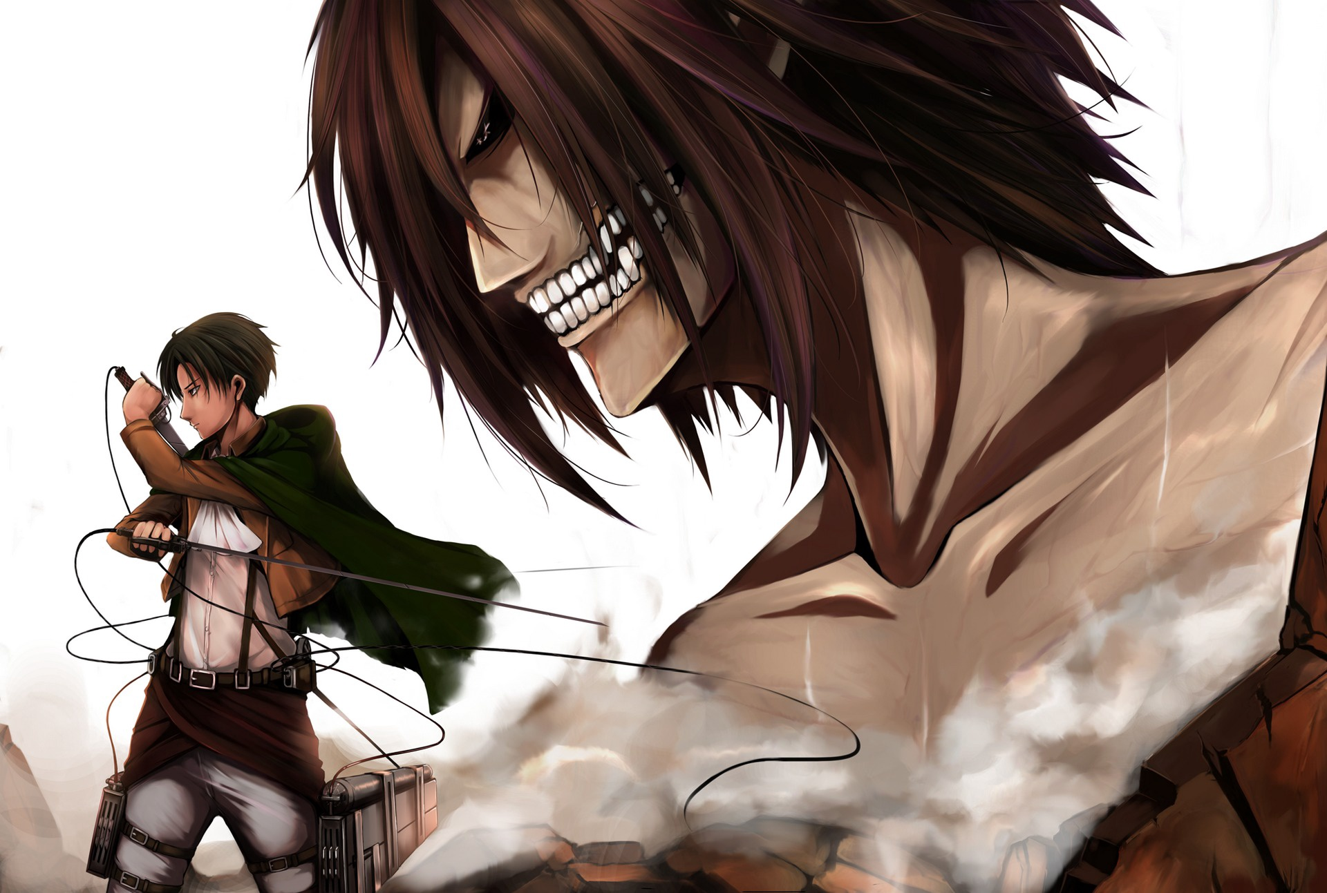 Download Wallpaper From Anime Attack On Titan With Tags Windows Vista Eren Yeager Levi Ackerman