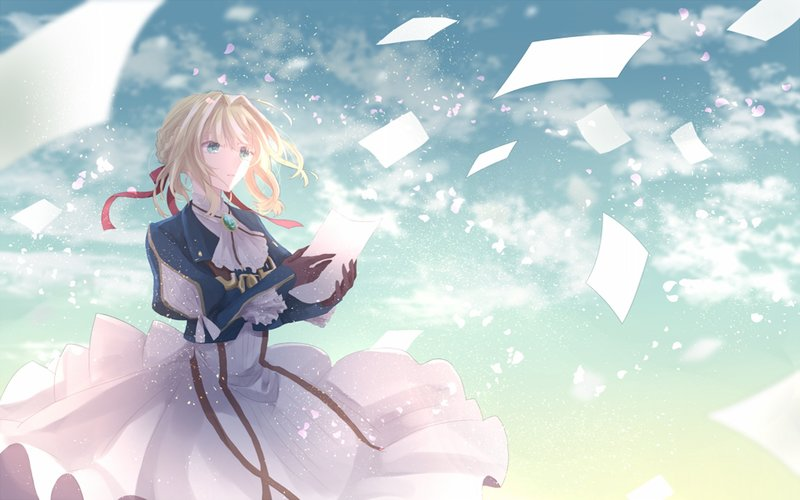 download wallpaper from anime violet evergarden with tags ribbon