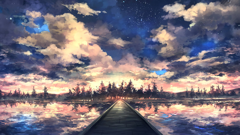 Download Wallpaper Artistic Landscape With Tags Laptop Cloud Sky Lake Reflection Walkway Pier
