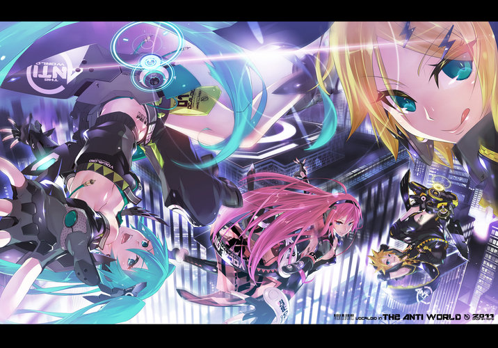 Download wallpaper from anime Vocaloid with tags: Hatsune Miku, Len